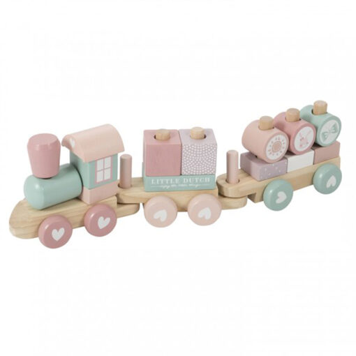 Little Dutch houten blokken trein rose